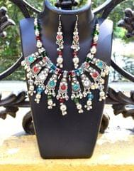 Oxidized Metal Jewellery Set-With Multicolor Stone 1