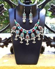 Oxidized Metal Jewellery Set-With Multicolor Stone 2