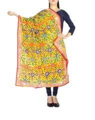 Phulkari Dupatta on Chanderi Fabric -Yellow