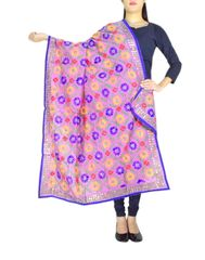 Phulkari Dupatta on Chanderi Fabric -Mauve
