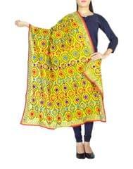 Phulkari Dupatta on Chanderi Fabric -Yellow 1
