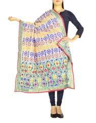 Phulkari Dupatta on Chanderi Fabric -White