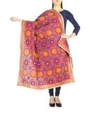 Phulkari Dupatta on Chanderi Fabric -Rust