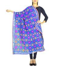 Phulkari Dupatta on Chanderi Fabric -Blue 1