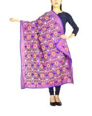 Phulkari Dupatta on Chanderi Fabric -Mauve 1