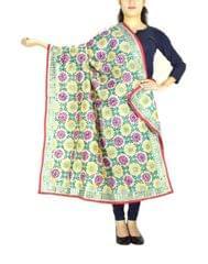 Phulkari Dupatta on Chanderi Fabric -Cream 1