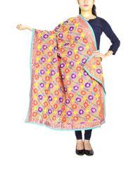 Phulkari Dupatta on Chanderi Fabric -Peach 1