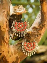 Afghani Earrings/Chandbalis in Alloy Metal- Red