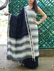 Handloom Cotton Ikat Salwar Suit-White&Black