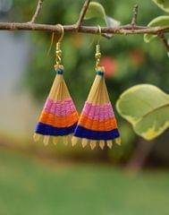 Bamboo Earrings Fan Shaped- Pattern 1