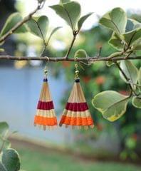 Bamboo Earrings Fan Shaped- Pattern 2