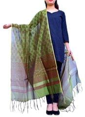 Chanderi Cotton Silk Hand Block Printed Dupatta-Olive Green
