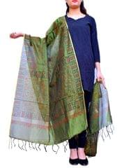 Chanderi Cotton Silk Hand Block Printed Dupatta-Olive Green 1