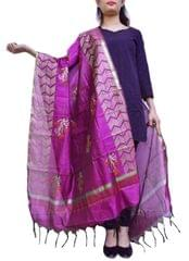 Chanderi Cotton Silk Hand Block Printed Dupatta-Dark Magenta