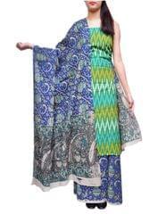 Ikat & Kalamkari Block Print Cotton Suit-Multicolor