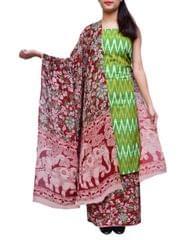 Ikat & Kalamkari Block Print Cotton Suit-Green&Maroon