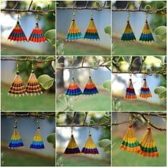 Set of 9 Bamboo/Rattan Earrings
