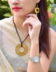 Dhokra Necklace Set with Round Pendant-Black Thread 1