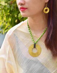 Dhokra Necklace Set with Round Pendant-Green Thread