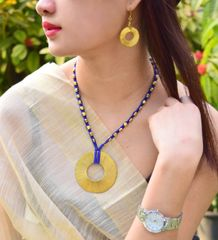 Dhokra Necklace Set with Round Pendant- Blue Thread