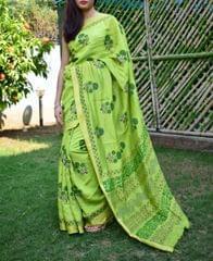 Maheshwari Block Print Saree Handloom - Lemon Green