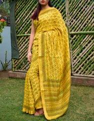 Maheshwari Block Print Saree Handloom - Mustard Yellow