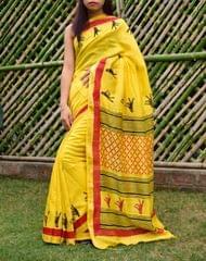 Maheshwari Block Print Saree Handloom - Yellow