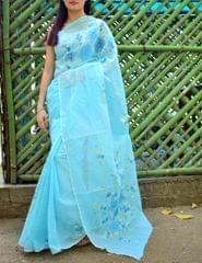 Shadow Work Saree in Kota Cotton-Turquoise