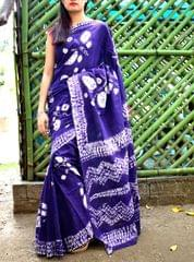 Cotton Shibori Saree-Dark Purple&White