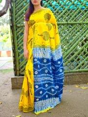 Dabu Print Saree in Mul Cotton- Yellow&Blue