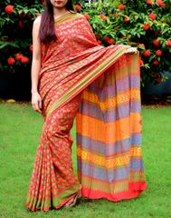 Handblock Print Saree in Mul Cotton-Red