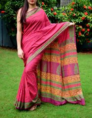 Handblock Print Saree in Mul Cotton-Pattern 9