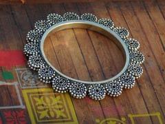 Oxidized Metal Bangle- Flower Pattern