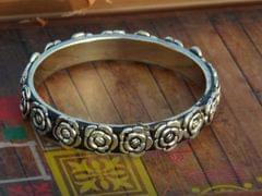 Oxidized Metal Bangle- Silver Rose Pattern