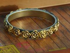 Oxidized Metal Bangle- Golden Rose Pattern