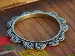Oxidized Metal Bangle- Silver Leaf Pattern