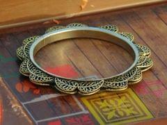 Oxidized Metal Bangle- Golden Leaf Pattern