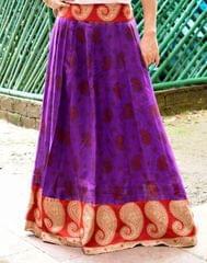 Panelled Kalamkari Skirt in Cotton-Purple