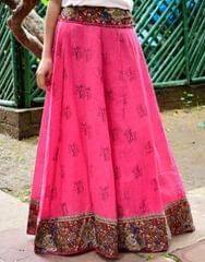 Panelled Kalamkari Skirt in Cotton-Pink 1