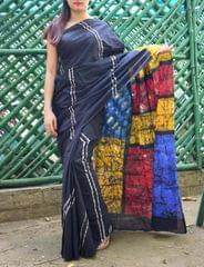 Batik Saree in Mul Cotton-Pattern 4