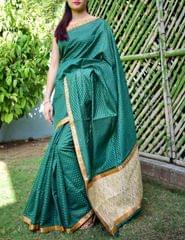 Cotton Silk Saree with Brocade  Pallu- Green