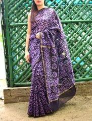 Batik Saree in Chanderi Cotton Silk- Purple&Black