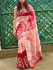 Batik Saree in Chanderi Cotton Silk- Red