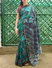 Batik Saree in Chanderi Cotton Silk- Green&Black