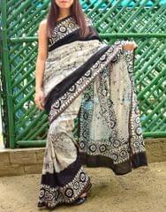 Batik Saree in Chanderi Cotton Silk- Black
