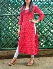 Ikat Cotton Kurta- Red