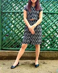 Ikat Cotton Skirt & Crop Top Set- Black