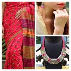 Blockprint Mul Cotton Saree-Jhumkas-Choker