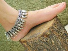 Oxidized German Silver Anklet Pair- Pattern 2