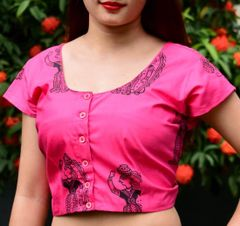 Cotton Block Print Blouse- Pink&Black
